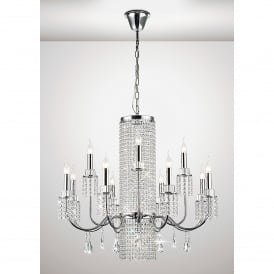 Emily 13 Light Ceiling Fitting In Polished Chrome And Crystal Finish