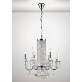 Emily 7 Light Ceiling Fitting In Polished Chrome And Crystal Finish