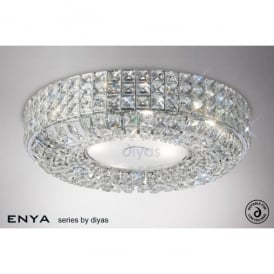 Enya 6 Light Flush Ceiling Fixture with Clear Crystal Decoration