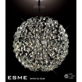 Esme XL 54 Light Ceiling Pendant in Polished Chrome with Asfour Crystal