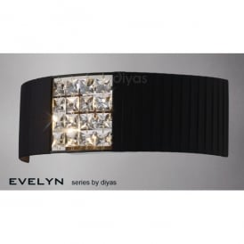 Evelyn 2 Light Black Fabric Wall Fitting with Crystal Decoration