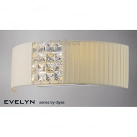 Evelyn 2 Light Wall Fixture with Cream Fabric and Crystal Detail
