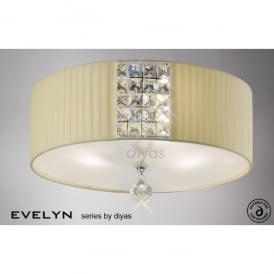 Evelyn 3 Light Cream Ceiling Fixture with Frosted Glass