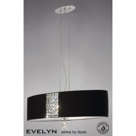 Evelyn 4 Light Black Fabric Oval Shaped Ceiling Pendant with Crystal