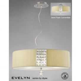 Evelyn 5 Light Circular Cream Fabric Ceiling Pendant with Frosted Glass