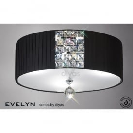 Evelyn Black Fabric 3 Light Semi-Flush Ceiling Fitting