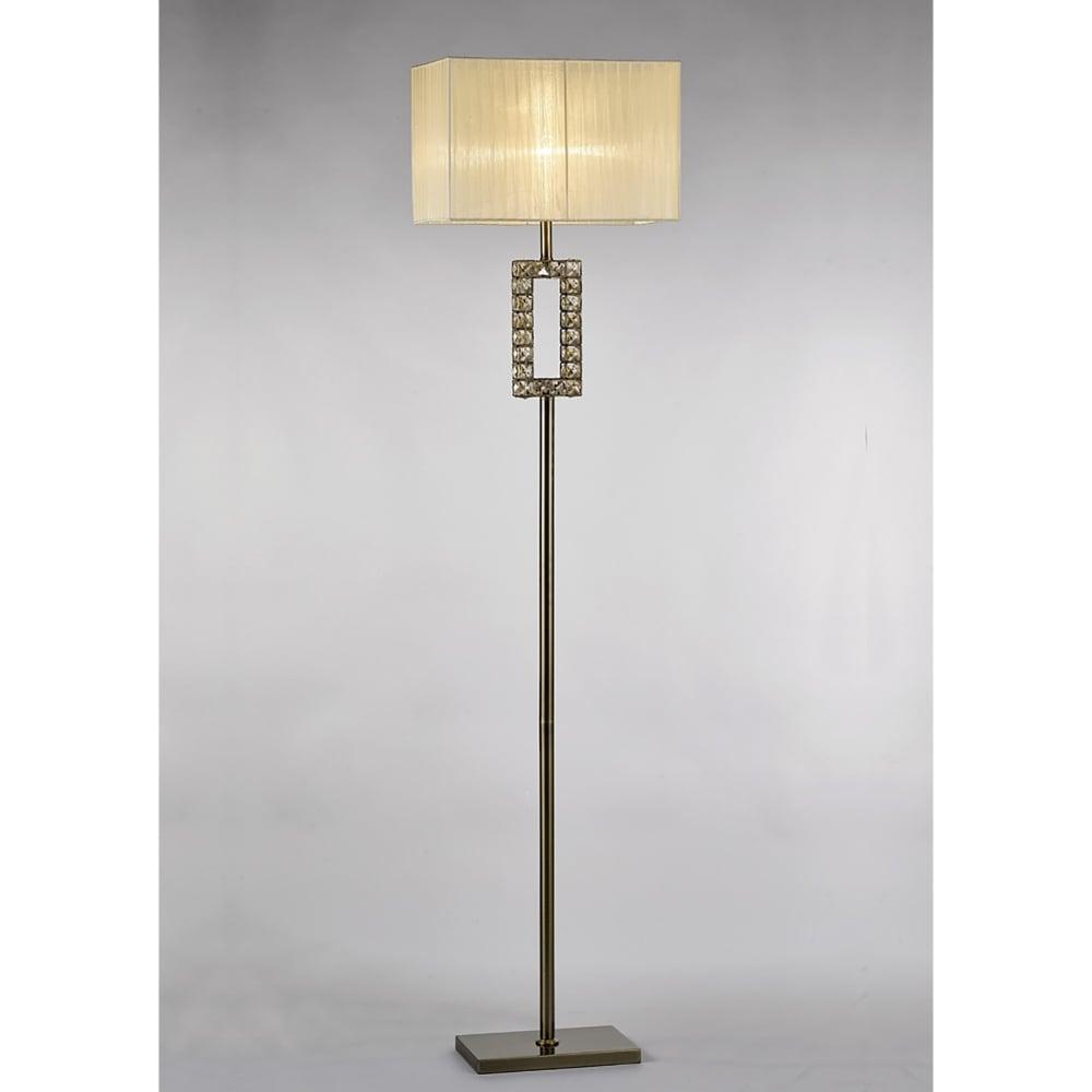diyas florence single light rectangular floor lamp in antique brass and crystal finish. Black Bedroom Furniture Sets. Home Design Ideas