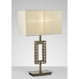 Florence Single Light Rectangular Table Lamp In Antique Brass And Crystal Finish