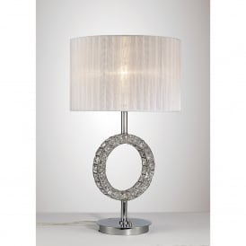 Florence Single Light Table Lamp In Polished Chrome And Crystal Finish