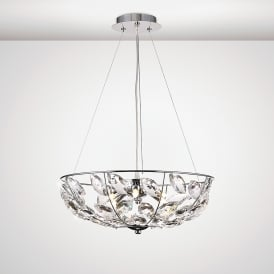 Galilea 6 Light Ceiling Pendant In Polished Chrome And Crystal Finish