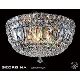 Georgina 3 Light Flush Ceiling Fixture with Crystal Decoration
