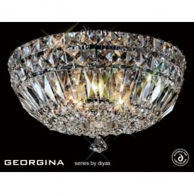 Georgina Large 5 Light Flush Ceiling Fixture with Crystal Decoration