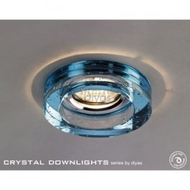 Halo Cluster Recessed Clear And Aqua Blue Crystal With Bubbles Effect Round Downlight Fascia Only