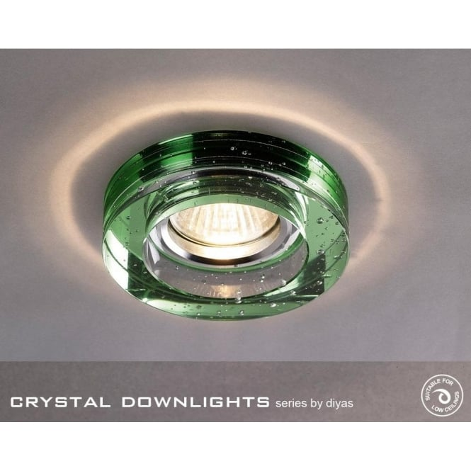 Diyas Halo Cluster Recessed Green Crystal With Bubbles Effect Round Downlight Fascia Only