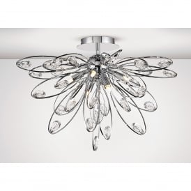Harlow 6 Light Semi Flush Ceiling Fitting In Polished Chrome And Crystal Finish
