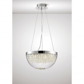 Harper LED Ceiling Pendant In Polished Chrome And Crystal Finish