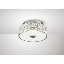 Hawthorne LED Small Flush Ceiling Fitting In Polished Chrome And Crystal Finish
