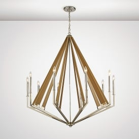 Hilton 10 Light Ceiling Pendant In Polished Nickel And Taupe Wood Finish