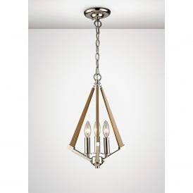 Hilton 3 Light Ceiling Pendant In Polished Nickel And Taupe Wood Finish