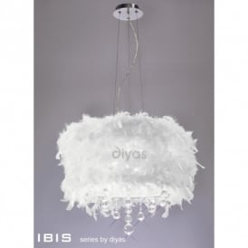Ibis 3 Light Ceiling Pendant with a White, Red, Black, Pink or Purple Feather Shade