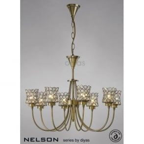 Diyas IL20664 Nelson 3 Light Floor Lamp in Antique Brass