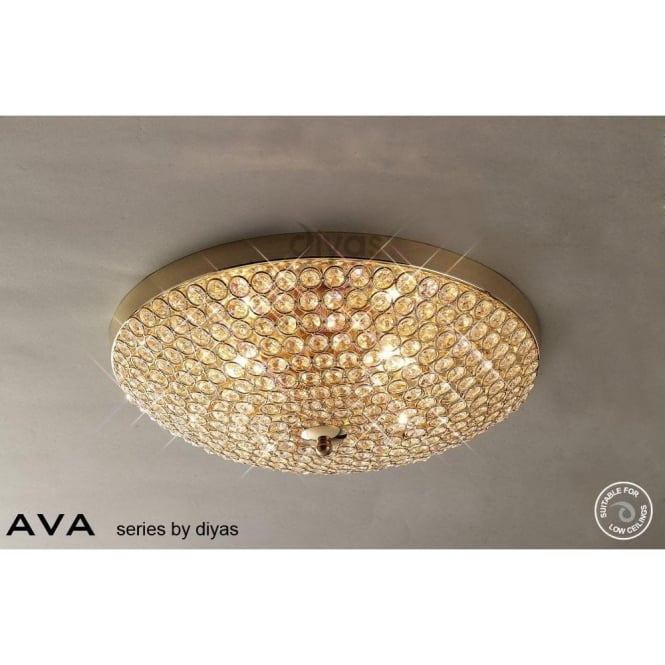 Diyas Il30756 Ava 4 Light Flush Crystal Ceiling Fitting In French Gold Finish