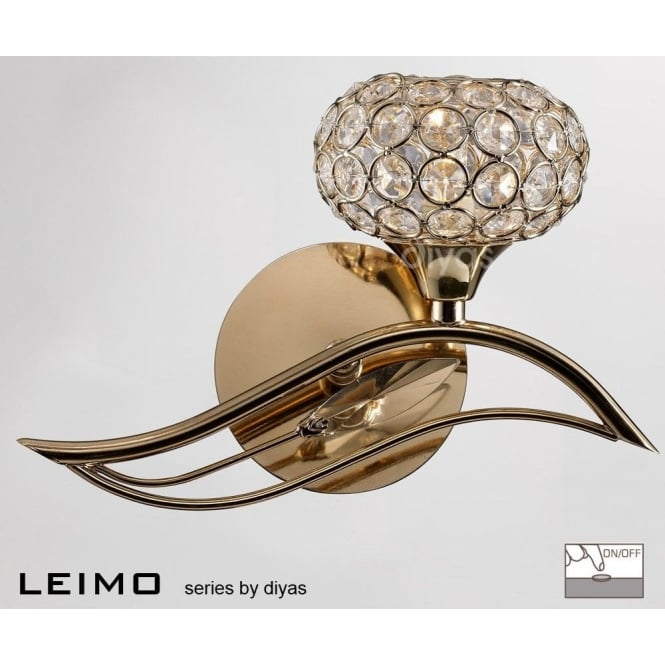 Diyas IL30961-R Leimo Single Light Right Facing Wall Fixture in French Gold Finish