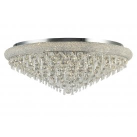 IL31449 Alexandra 18 Light Semi-Flush Ceiling Fitting in Polished Chrome Finish with Asfour Crystal Detail