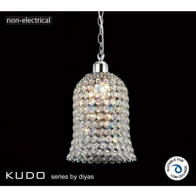 Diyas Il60001 Kudo Bell Shaped Crystal Ceiling Light Pendant Shade In Polished Chrome Finish