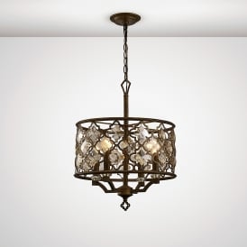 Indie 4 Light Ceiling Pendant In Mocha Finish With Crystal Detail
