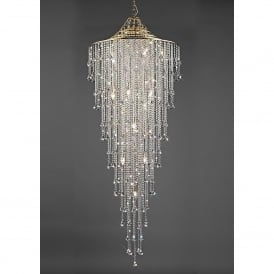 Inina 15 Light Long Line French Gold Ceiling Pendant with Clear Crystal
