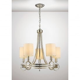 Isabella 5 Light Ceiling Pendant In Antique Silver Finish With Beige Shades