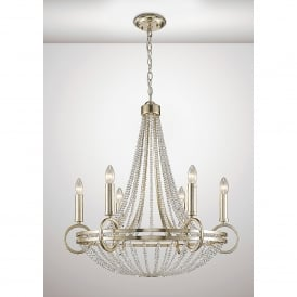 Isabella 6 Light Ceiling Pendant In Antique Silver Finish With Beige Shades
