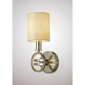 Isabella Single Light Wall Fitting In Antique Silver Finish With Beige Shade