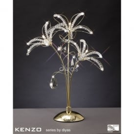 Kenzo 3 Light Table Lamp in French Gold with Crystal Detail