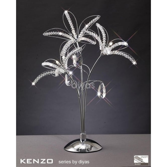 Diyas Kenzo 3 Light Table Lamp in Polished Chrome with Crystal Detail