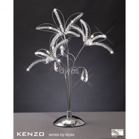 Kenzo 3 Light Table Lamp in Polished Chrome with Crystal Detail