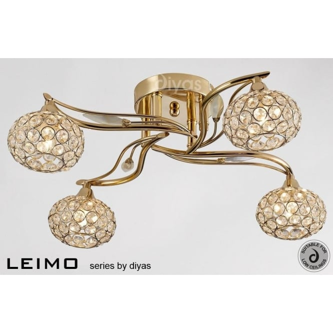 Diyas Leimo 4 Light Semi Flush Ceiling Fixture In French Gold With Crystal Detail Castlegate