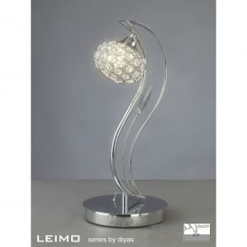 Leimo Single Light Halogen Table Lamp In Polished Chrome Finish