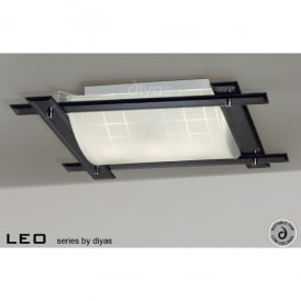Leo 3 Light Flush Ceiling Fitting With Smoked Mirrored Frame