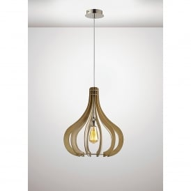 Lorna Single Light Large Ceiling Pendant In Polished Chrome And Beige Wood Finish