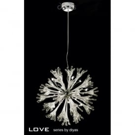 Love 11 Light Ceiling Pendant in Polished Chrome with Glass Detail