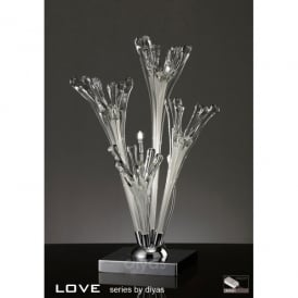 Love 3 Light Table Lamp with Clear and White Glass and Chrome Finish