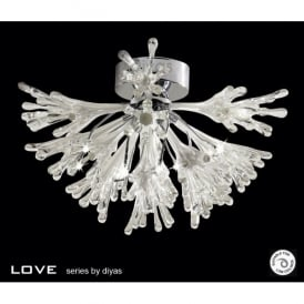 Love 9 Light Semi-Flush Ceiling Fixture in Polished Chrome