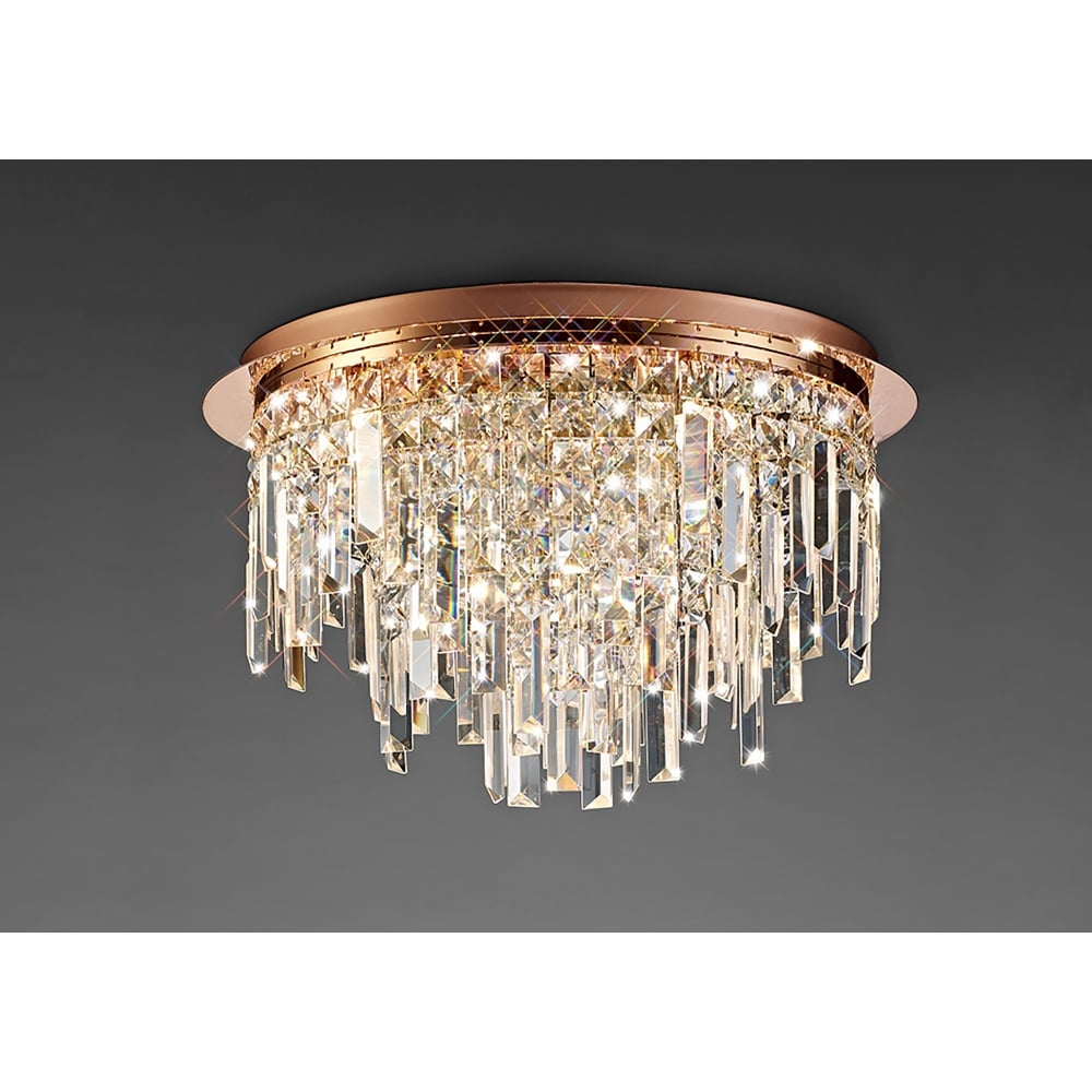 Diyas maddison circular 6 light rose gold ceiling fixture with crystal detail