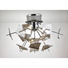 Meridan 6 Light Semi Flush Ceiling Fitting In Polished Chrome And Smoke Glass Finish