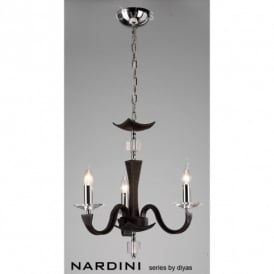 Nardini 3 Light Ceiling Fitting in Brown Faux Leather Finish
