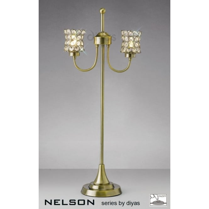 Diyas nelson 2 light table lamp in antique brass with crystal shades nelson 2 light table lamp in antique brass with crystal shades aloadofball Choice Image