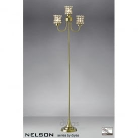 Nelson 3 Light Floor Lamp in Antique Brass with Crystal Shades