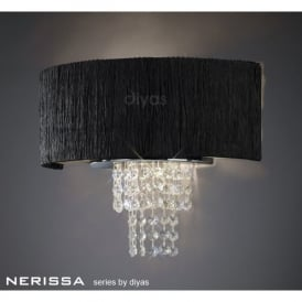 Nerissa 2 Light Polished Chrome Wall Fitting with Black Shade